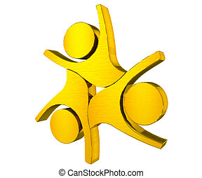 Teamwork union gold people logo - Teamwork union gold people...