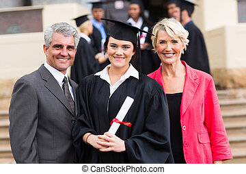 young graduate with parents
