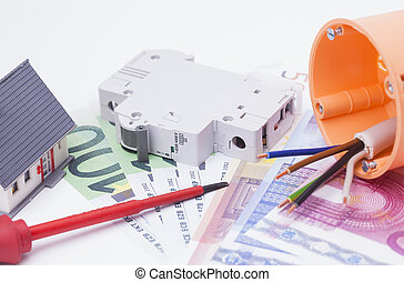 Electrical installation components, tools, cash and...