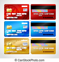 Realistic credit cards set isolated vector illustration