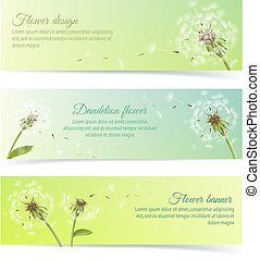 Collection of banners and ribbons with dandelion -...