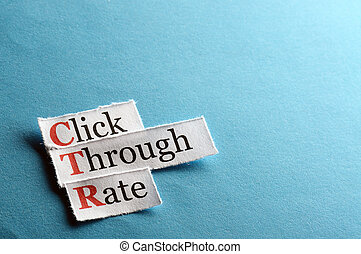 ctr abbreviation - acronym ctr - click through rate on blue...