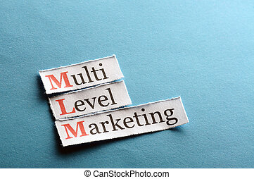 mlm abbreviation - mlm - multi level marketing on blue paper...