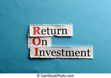 roi abbreviation - ROI acronym on blue paper , Return On...