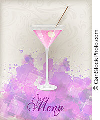 Martini menu on abstract background