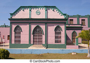 Colorful architecture in Matanzas, Cuba - Colorful pink and...