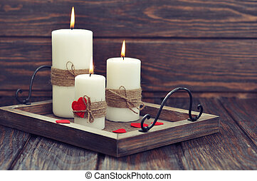 Candles with fabric hearts - Candles on vintage tray with...