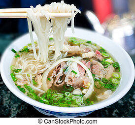 Traditional Vietnamese Pho Beef Noodle Soup - Bowl of...