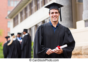 young male university graduate - cheerful young male...