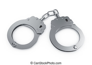 Handcuffs - 3d render of handcuffs isolated on white...