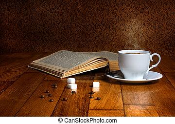 café, taza, de madera, leer, caliente, Libros, fresco,...