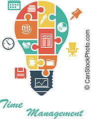 Business infographics in lightbulb shape with office and...