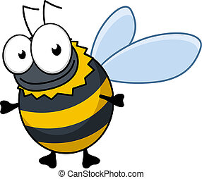 Flying cartoon bumble bee or hornet with colorful black and...