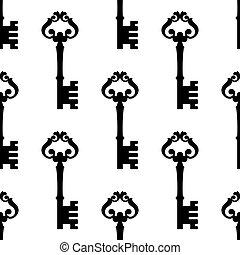 Old-fashioned ornate key seamless pattern