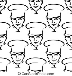 Repeat pattern of smiling young chefs