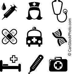 Set of black and white medical icons including a syringe,...