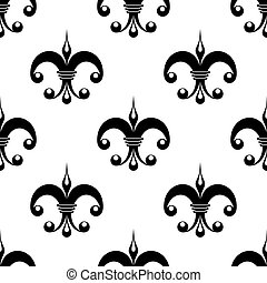 Vintage fleur de lys pattern in black and white with unusual...