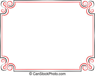 Vector vintage frame. Black with red