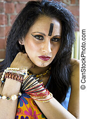 Indian Tribal Woman - Closeup of a beautiful East Indian...