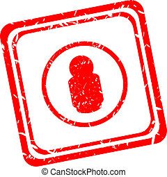 Business red stamp. Human male sign icon. Man Person symbol