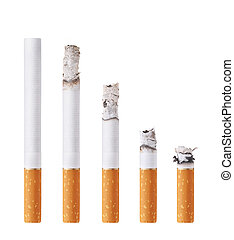 Cigarettes during different stages of burn Isolated on white...