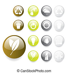 Environmental Buttons - Set of green gray and white...