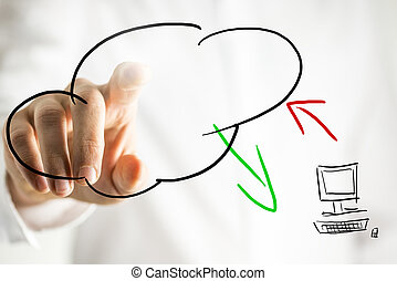 Cloud computing pictogram on a virtual interface - Hand...