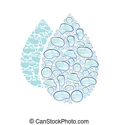 Large water drop - Large waterdrop background made up of...