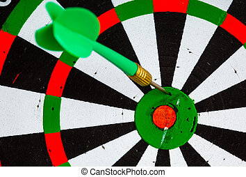 Bullseye Black and white target with dart as sport...