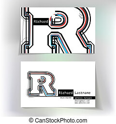 Business card design with letter R