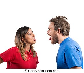 Grimace couple - A funny engaged couple who make grimaces