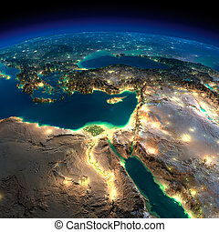 Night Earth Africa and Middle East - Highly detailed Earth,...