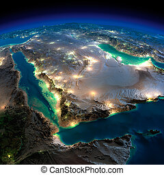 Night Earth. Saudi Arabia - Highly detailed Earth,...