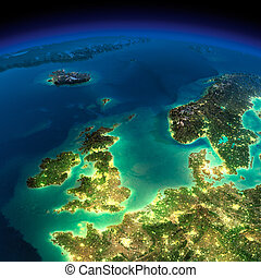 Night Earth. United Kingdom and the North Sea - Highly...