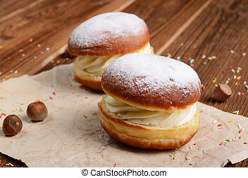 doughnuts with whipped cream