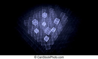 Blue Cubes Rotating in Perspective - animation abstract...