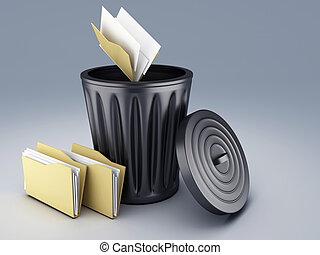 Folder with Trash Bin 3d illustration