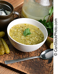 cucumber soup - Tasty cucumber soup on wooden background