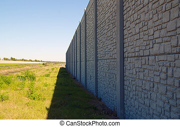 wall with vanishing point and field - Looking down the...