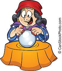 Crystal ball - Gypsy woman looking at a crystal ball. Vector...