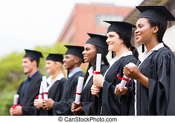 group of university graduates - group of multiracial...