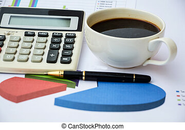 Business report with calculator