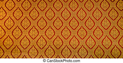 The Traditional Thai style art golden painting pattern on...