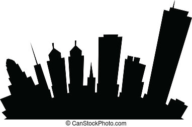 Cartoon Buffalo City Skyline - Cartoon skyline silhouette of...