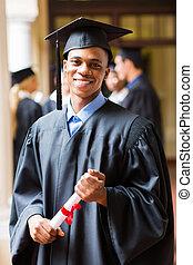 Afro, norteamericano, macho, graduado