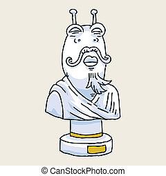 Alien Statue Bust