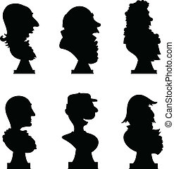 Statue Bust - Cartoon silhouette of a set of statue busts of...