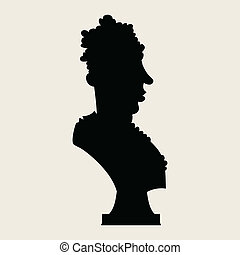 Statue Bust - Cartoon silhouette of a statue bust.