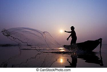 pescadores, red, pez, gracioso, molde