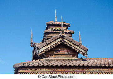 Wood roof of sanctuary in temple. Mae Hong son province, Thailand.